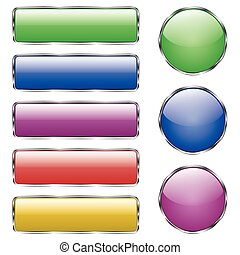 Set of colored shiny web glass button with reflection