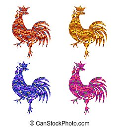 Set of colored silhouettes roosters isolated on white background. Bird with ornament. Chinese Traditional Zodiac. New Year Symbol. Crowing Cock. Red, Gold, blue, lilac Colors. Vector illustration