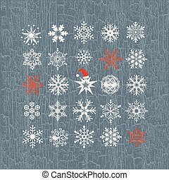 Set of colored snowflakes line icons. Collection graphic art for your design Merry Christmas and Happy New Year