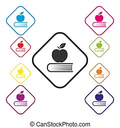 Set of colored square education icons, simple design