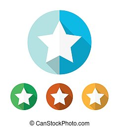 Set of colored star icons. Vector illustration.