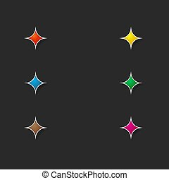 Set of colored stars for the interface on a dark background.