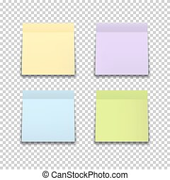 Set of colored stickers isolated on transparent background.