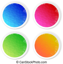 Set of colored stickers isolated on white background. Vector ill