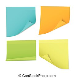 Set of colored stickers on notes of different colors, isolated on white background - vector