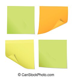 Set of colored stickers on notes of different three colors, isolated on white background - vector
