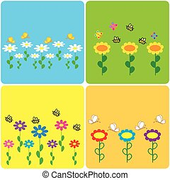 set of colored stickers with spring motifs