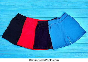 Set of colored summer shorts for kids.