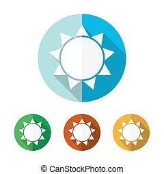 Set of colored sun icons. Vector illustration.