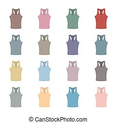 Set of colored tank top, vector illustration.