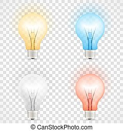 Set of colored transparent realistic glass light bulbs isolated on checkered background