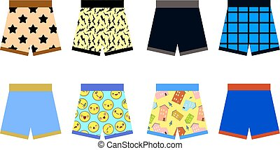 set of colored underpants shorts with a patternon white background. Underwear for men. Flat design Vector