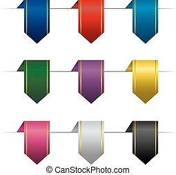 Set of colored vertical ribbons.