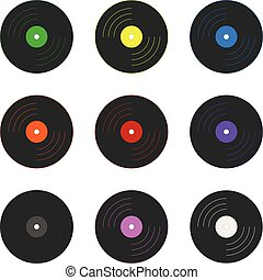 Set of Colored Vinyl Records isolated on white background. Holidays Element. Vector Illustration for Your Design, Game, Card.
