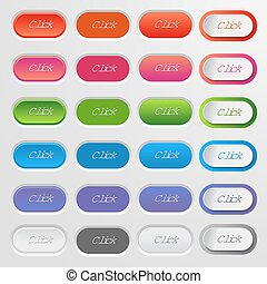 Set of colored web buttons. Colorful collection of vector buttons for your website and web design. Set Click button