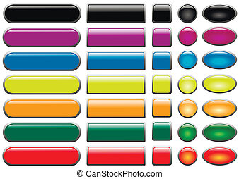 Set of colored web buttons