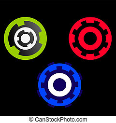 Set of colored wheels