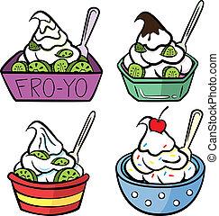 set of colored yogurt