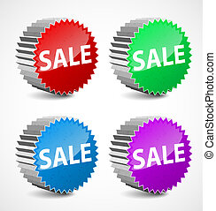 Set of colorful 3d vector sale labels.