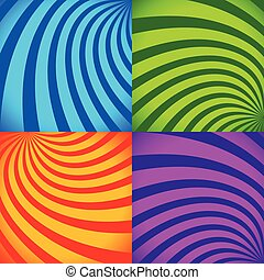 Set of colorful abstract backgrounds in vivid colors. Vector.