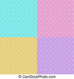 Set of colorful abstract seamless patterns with silhouettes of butterflies. Simple flat vector illustration.