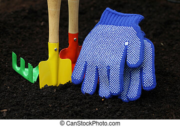 Set of colorful accessories for gardening