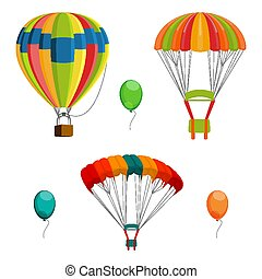 Set of colorful air balloon and parachutes realistic vector...