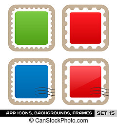 Set Of Colorful App Icon Frames, Templates, Buttons. Set 15. Vector