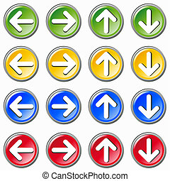 Set of colorful arrows icons on whi