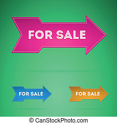 Set of colorful arrows with the words For Sale