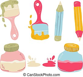 Set of colorful art supplies in pink, orange and blue, vector illustration