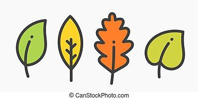 Set of colorful autumn leaf icons.