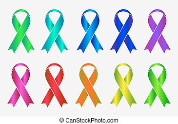Set of colorful awareness ribbons isolated on white...