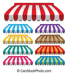 awnings - set of colorful awnings. frames and backgrounds...