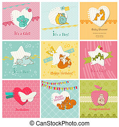 Set of Colorful Baby Cards - for arrival, birthday,...