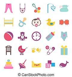 Set of colorful baby item icons