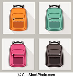 Set of colorful backpacks icons
