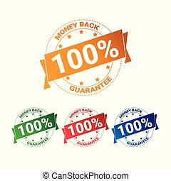 Set Of Colorful Badge Money Back With Guarantee 100 Percent Seal Stamps Collection Isolated