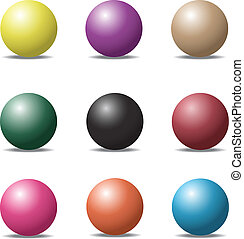 set of colorful ball glossy spheres on white. Vector illustratio