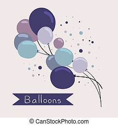 Set of colorful balloons in cartoon style. Vector clipart.