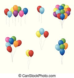 Set of colorful balloons vector illustration.
