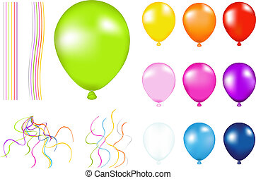 Colorful Balloons - Set of Colorful Balloons with details. ...