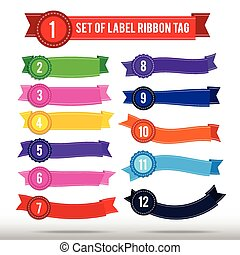 Set of colorful banner label ribbon tag 13