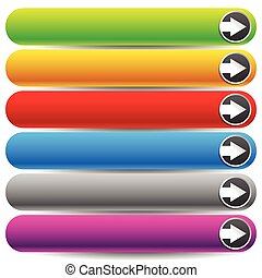 Set of colorful banner or button backgrounds with arrows. Tag, label design elements with blank space for your texts, message.