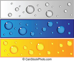 Set of colorful banners with water drops