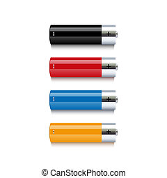 Set of colorful batteries on white background