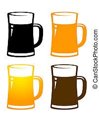set of colorful beer mugs