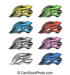 Set of Colorful Bike Helmets