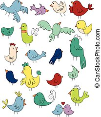 Set of colorful Bird Doodles