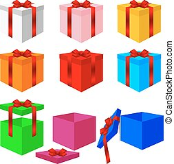 Set of colorful box christmas gifts. Vector illustration